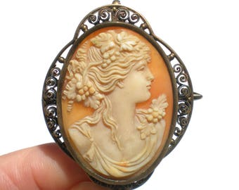 Edwardian Bacchante Cameo Pendant and Brooch Vermeil Filigree Setting Antique Jewelry Carved Shell