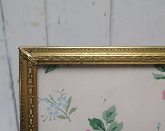 Mid Century Etched Brass 8 x 10  Picture Frame