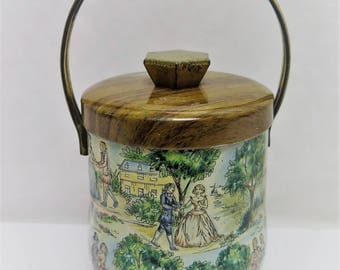 Vintage English Tin Crinoline Confections Candy Tin Box Container with handle
