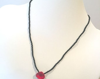 Black Beaded Necklace, Black & Red Beaded Necklace, Red Charm Bead Necklace, Black and Red Necklace, Black and Red Bead Necklace, Necklace