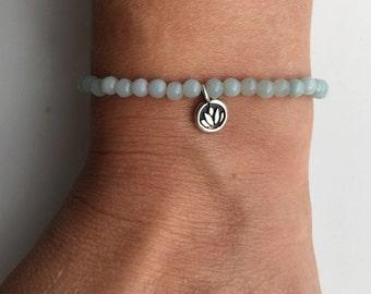 Beaded bracelet, amazonite, lotus bracelet, silver lotus, yoga jewellery, friendship bracelet, semi precious gemstone, gemstone bracelet