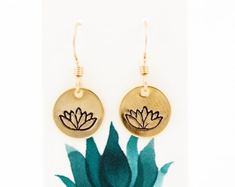 Lotus Earrings // Lotus Flower Earrings // Yoga // Gold Earrings // Simple, Everyday, Minimalist Jewelry // Geometric Jewelry
