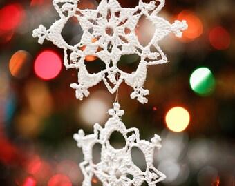 Lace Crochet Snowflake Christmas Ornament Pattern pdf instant digital download Lace Crochet