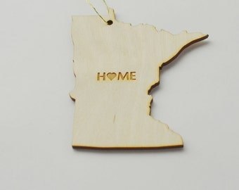 Natural Wood HOME Minnesota State Ornament