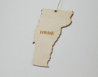 Natural Wood HOME Vermont State Ornament