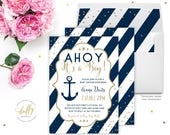 Baby Shower Invitations for Boys Nautical, It's a Boy Shower Invitation, Baby Shower Invite Navy Blue Gold, Baby Boy Shower Invitation
