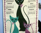 On hold for Susan Vintage 1969 Linen Towel Calendar Wall Hanging Mid Century Modern Atomic Cats Retro Kitchen Home Decor
