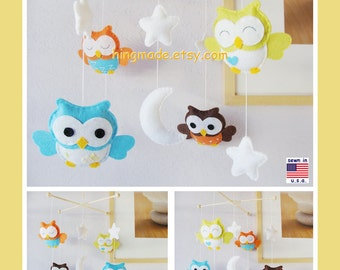 Owl Mobile,Baby Mobile, Neutral Mobile, Aqua Nursery Decor, Aqua and Orange Owl Mobile,Custom Felt Mobile