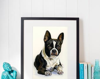 Boston Terrier - Original Watercolor Painting - 8 x 11 inches
