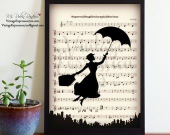 Mary Poppins, Supercalifragilisticexpialidocious, Music Song Sheet, Print