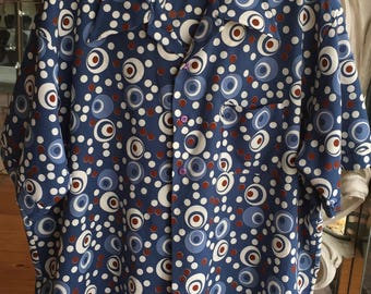 Vintage 1970s Wide Collar Abstract Print Polytester Men's Shirt