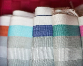 Organic Bamboo  Scarf: Turquoise, Black and White SpringScarf, Stripes