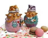 Ceramic holders for loose goodies: two yawning babooshies in pyjamas