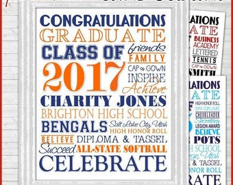 PERSONALIZED 2017 Graduation Subway Art, Announcement, GRAD GIFT - Printable