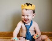 Prince Crown- Princess Crown- Princess Crown Headband- Birthday Crown- Gold Crown- Photo Prop- Crochet Headband- First Birthday Outfit Boy