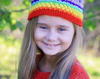 Rainbow Baby Crown- Princess Crown-Prince Crown - Princess Crown Headband- Rainbow- Birthday Crown- Photo Prop- Crochet Headband- Birthday