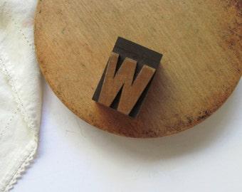 Vintage Letterpress Letter W Printer Block Initial Alphabet Wood Type Printing Stamp Name Wood Block Wooden Home Decor Stocking Stuffer Art