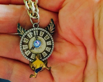 Blue Winged Clock with Vintage Runner Pendant, Steampunk Necklace, Blue and Pale Green Clock Necklace