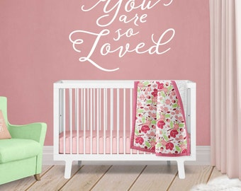 You Are So Loved Wall Decal - Nursery Wall Decal Quotes - Nursery Decor - Baby Shower Gift - Gold Wall Decal - WB404