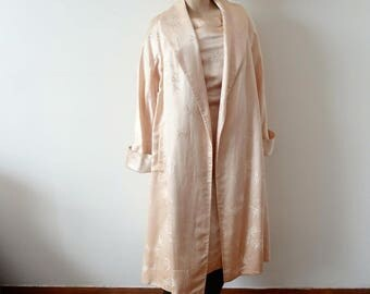 1950s Silk Wiggle Dress and Swing Coat - blush pink cheongsam dress and jacket - cocktail 2 piece size XS