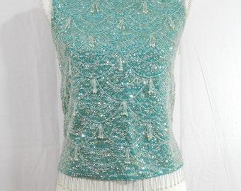Vintage Mid Century STEPHEN CHU~Designer Sequins~Dangle Beaded Formal Top~
