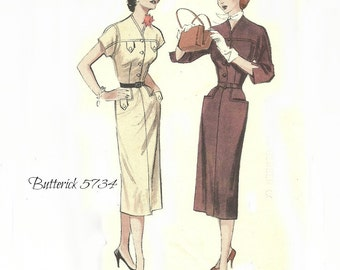 Women's Tailored One Piece Dress with Yoked Bodice, Butterick Pattern 5734 Size 12 Bust 30