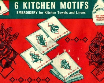 Superior 155 Hot Iron Transfers KITCHEN MOTIFS Fruits Vegetables Cross Stitch