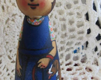 """Peg Doll Girl with Dog -watercolored large size 3.5"""""""