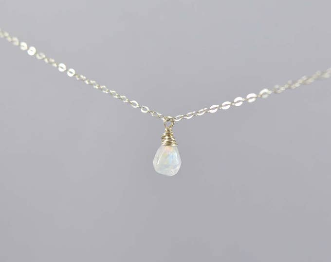 Rainbow Moonstone Tiny Teardrop Necklace, Rainbow Moonstone Necklace, Moon Stone Necklace, Moonstone Jewelry