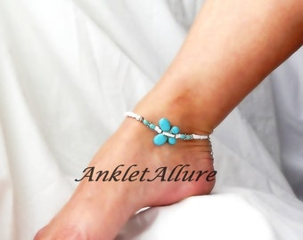 Butterfly Anklet Turquoise Ankle Bracelet Butterfly Jewerly Body Jewelry Foot Jewelry
