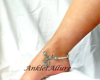 BFF Beach Anklet Dragonfly Ankle Bracelet Butterfly Anklet Body Jewelry