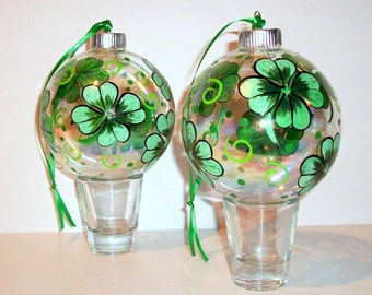 4 Leaf Clover Glass Christmas Balls Hand Painted Ornaments Set of 4 -4 inch Christmas Balls Baubles Shamrocks Wedding Gift St. Patrick's Day