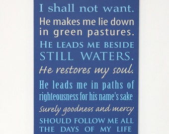 Custom Sign - The Lord is my Shepherd, I shall not want... Psalm 23 - large wood sign, Bible verse, scripture sign, subway