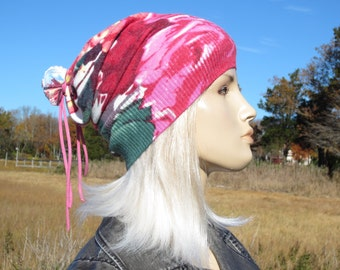 Bohemian Clothes Yoga Turban Beanie Hat Pink Rose Floral Printed Cotton Knit Hat for Women A1827