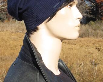 Basic Navy Blue Beanie No Words, Men's Lightweight Hats Summer Slouchy Beanie Plain Cotton Knit Slouch Tam A1999