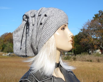 BOHO Clothing Women's Slouch Tams Slouchy Beanies Black White Heather Cotton Knit Tie Top Hat by Vacationhouse A1610-S
