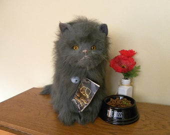 Real Soft Toys Fluffy Cat - Large Sitting Cat - Vintage Grey Toy Cat