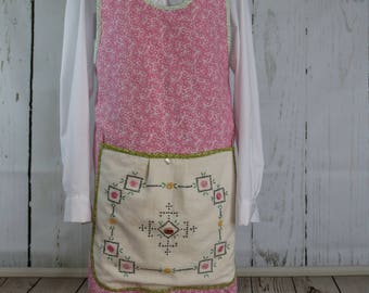Farm smock apron, ready to ship, pink