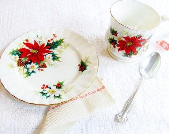 Royal Albert Poinsettia Bone China Cup Mug Bread Plate Elegant Way To Leave Tea And Cookies For Santa 1976-1997 Montrose Shape