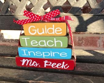 "Guide Teach Inspire-teacher appreciation personalized ""MINI"" stacker blocks"
