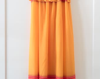 Vintage 1960's Orange Multi-Colored Rainbow Sleeveless Bohemian Maxi Dress / Summer Swimsuit Cover