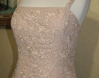 size 8-10 nude color form fitting EMBROIDERED BEADED gown wedding dress brides maid dress with matching shawl Mother of the Bride dress