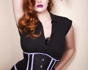 REDUCED - black silk and lilac underbust corset 25""