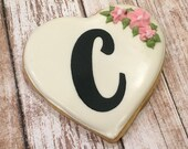 Wedding Cookie Favor, Decorated Heart Favors, Personalized Cookie Favors - 1 dozen