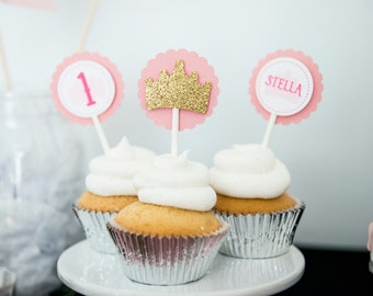 Princess Cupcake Toppers - Princess Crown Cupcake Toppers - Pink and Gold First Birthday - Royal Princess Theme - Princess Party Decorations