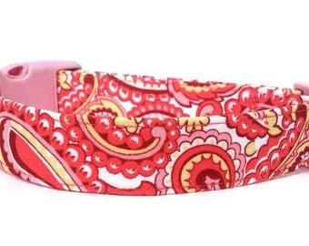 Paisley Dog Collar / Girl Dog Collar / Pink Paisley Dog Collar / Coral Pink Paisley / Dog Collar
