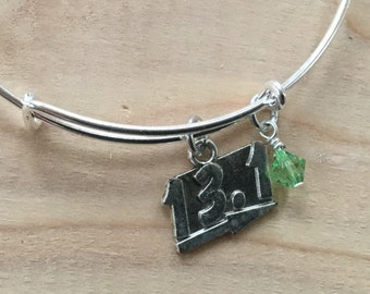SALE- Half Marathon Charm Bangle Bracelet- Half Marathon Charm, and accent bead- only 1 available