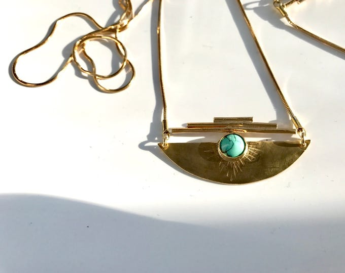 H e m i s p h e r e Half Circle Disc Turquoise Geometric Long Necklace