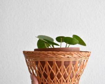 small woven wicker basket bowl planter