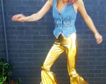 metallic shiny gold dramatic handmade bell bottoms vintage chic retro disco festival bell bottom pants rave cool hipster sparkle dramatic